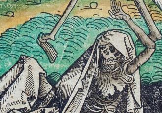 Michael Wolgemut, Tanz der Gerippe, Holzschnitt, um 1500, Foto: Museum für Sepulkralkultur Kasse
