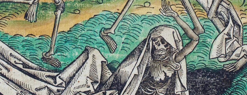 Michael  Wolgemut, Tanz der Gerippe, Holzschnitt, um 1500