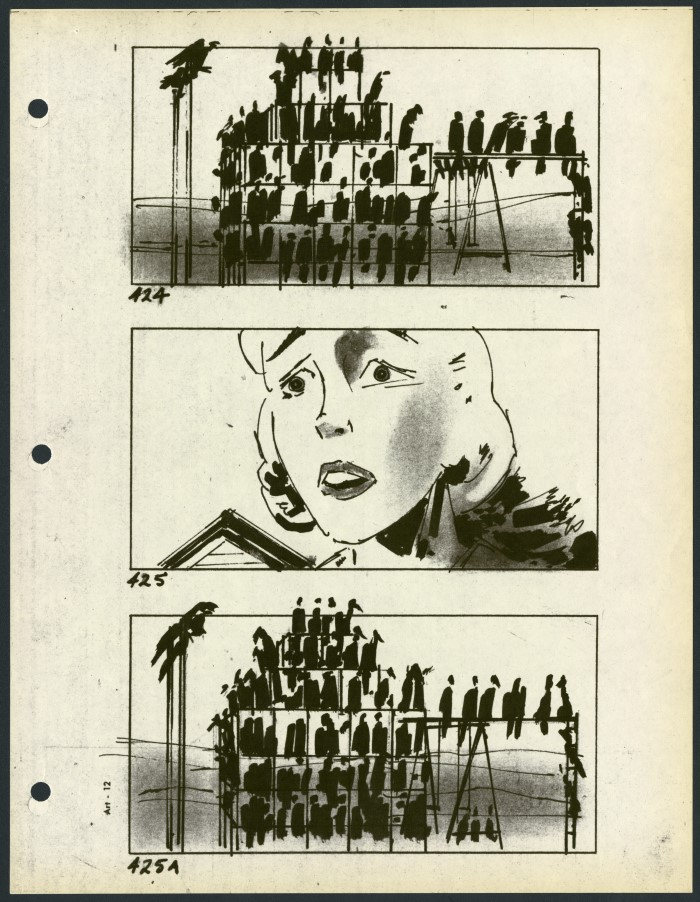 The Birds. Alfred Hitchcock (USA 1963), Storyboard: Harold Michelson, Margaret Herrick Library, Academy Foundation, Beverly Hills