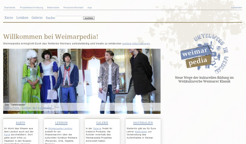 Weimarpedia - Screenshot der Website